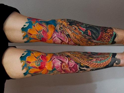 Lotus-tattoo-with-Dragon