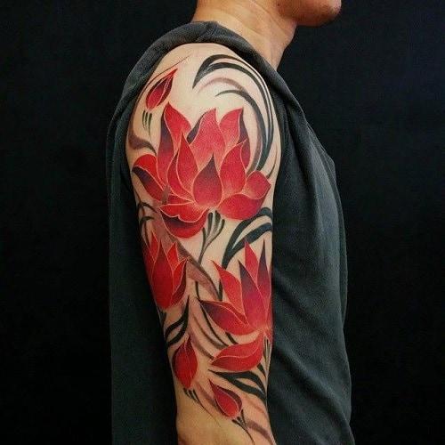 Sleeve-Lotus-flower-tattoo