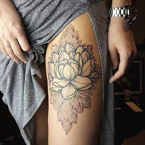 Thigh-Lotus-flower-tattoo