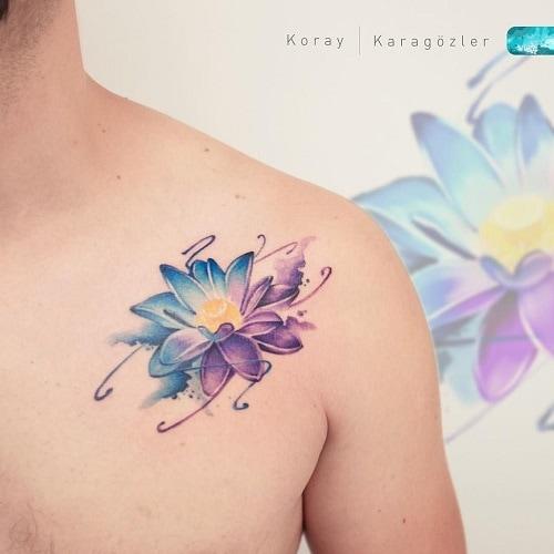 Watercolor-Lotus-tattoo