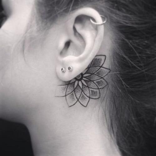 behind-the-ear-lotus-flower-mandala-tattoo