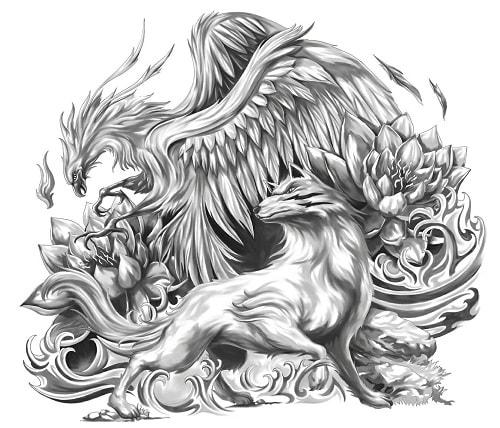 phoenix-and-wolf-tattoo-design