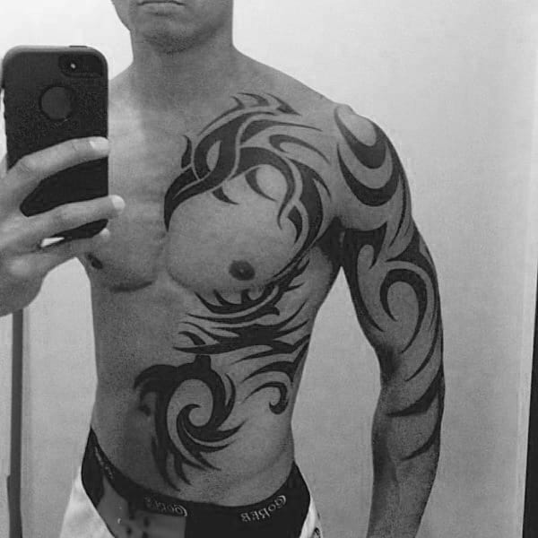 phoenix-tribal-tattoos-full-chest-and-arm